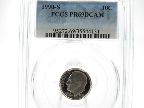 1990-S Roosevelt Dime PCGS PF69DCAM (V)