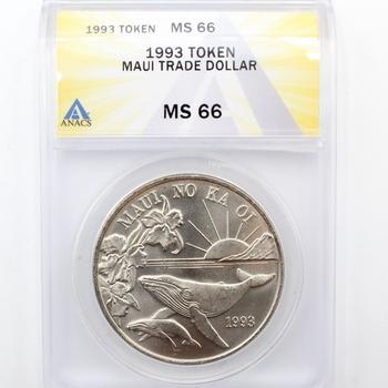 1993 Token Maui Trade Dollar ANACS MS 66