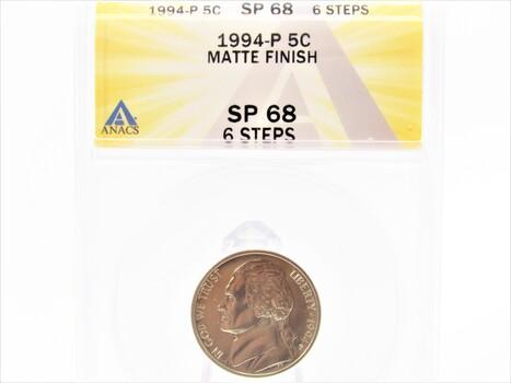 1994-P Jefferson Nickel Matte Finish SP68 6 Steps ANACS (103)