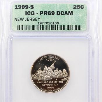 1999-S New Jersey State Quarter Proof ICG PR69 DCAM