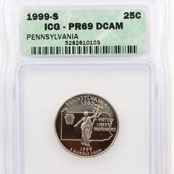 1999-S Pennsylvania State Quarter Proof ICG PR69 DCAM