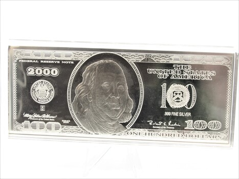 2000 99% Silver Washington Mint $100 Bill .25lbs Collection with Box & COA