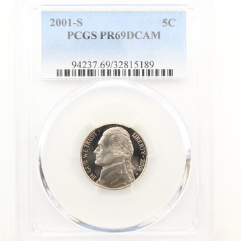 2001-S Jefferson Proof Nickel PCGS PR69DCAM