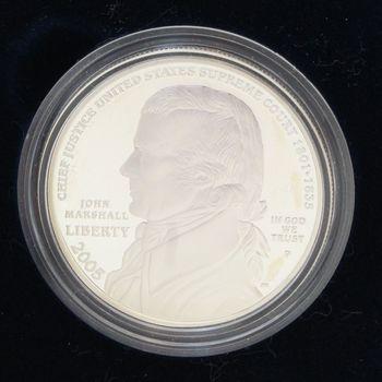 2005 Chief Justice John Marshall Proof Silver Dollar