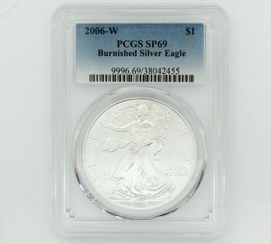 2006-W Burnished Silver Eagle Dollar PCGS SP69 (455)