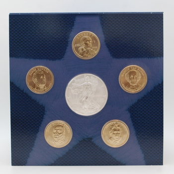 2008 U.S. Mint Annual Uncirculated Dollar Coin Set - Silver Liberty, Presidents, Sacagawea