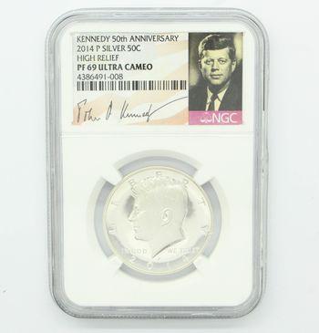 2014 Kennedy 50th Anniv. Silver Half Dollar High Relief NGC PF69 Ultra Cameo
