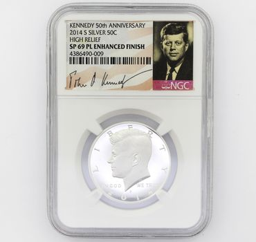 2014-S Kennedy 50th Anniv. Silver 50c High Relief  SP 69 PL Enhanced Finish NGC (009)