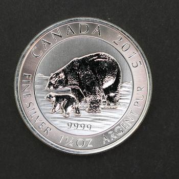 2015 1.5 oz 9999 Fine Silver Canada Bear & Cub 8 Dollars