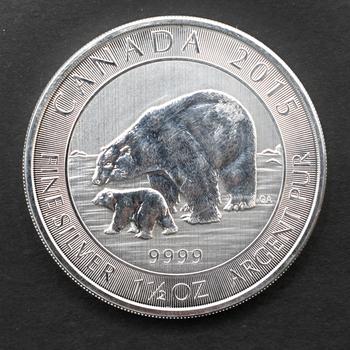 2015 1.5oz 9999 Fine Silver Canada Bear & Cub 8 Dollar Coin