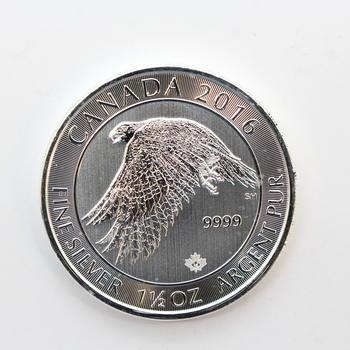 2016 1.5 oz Fine Silver Canada Falcon 8 Dollars