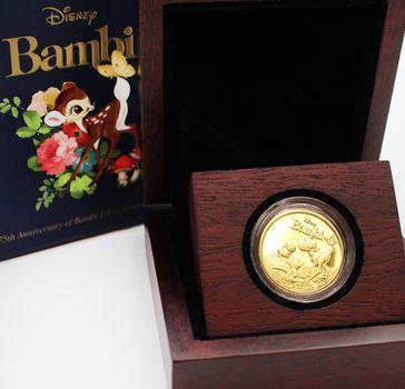 2017 Disney Bambi 1/4 oz. Gold $25 Coin 75th Anniversary w/ Commemorative Case, Box & Certificate
