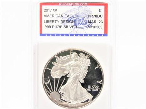 2017-W .999 OZ Silver American Eagle PR-70 DCAM March 23 IGS