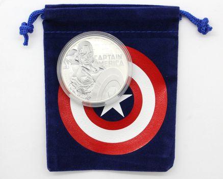 2019 Marvel Captain America Tuvalu 1 oz. Silver Dollar BU