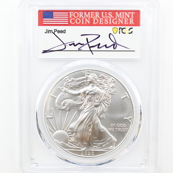 2020 1 oz. Fine Silver Eagle $1 PCGS MS70 First Day of Issue Jim Peed Signed