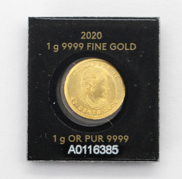 2020 1g 9999 Fine Gold Royal Canadian Mint Maple Leaf