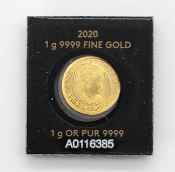 2020 1g 9999 Fine Gold Royal Canadian Mint Maple Leaf