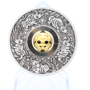 2021 1 oz. Silver Rotating Charm Year of the Ox Antiqued Coin w/ Collector's Box & COA