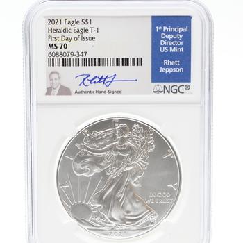 2021 1oz. Fine Silver Heraldic Eagle T-1 1st Day of Issue MS 70 Rhett Jeppson Signed