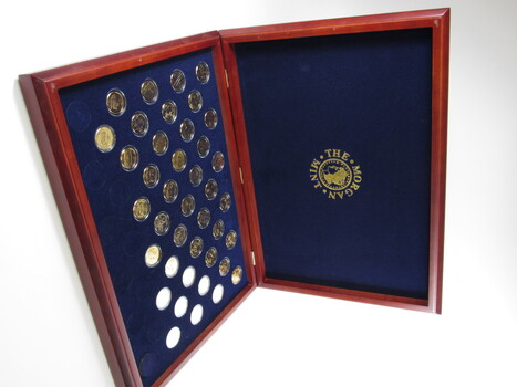 24K Gold-Plated Complete Statehood Quarters D-Mint in Wooden Box (79)