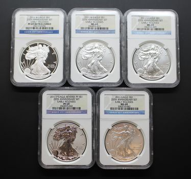 2011 Anniversary Silver Eagle Set MS/PF69 NGC Early Releases