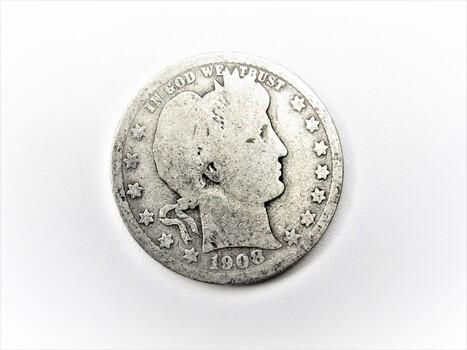 90% Silver 1908-O Barber Quarter (25)