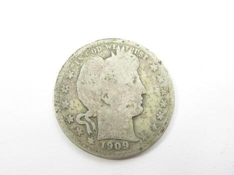 90% Silver 1909-P Barber Quarter (156)