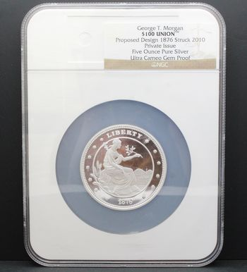 George T. Morgan $100 Union 5oz Pure Silver Ultra Cameo Gem Proof