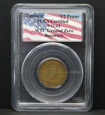 Jamaica 1/2 Penny Queen Elizabeth II WTC Recovery