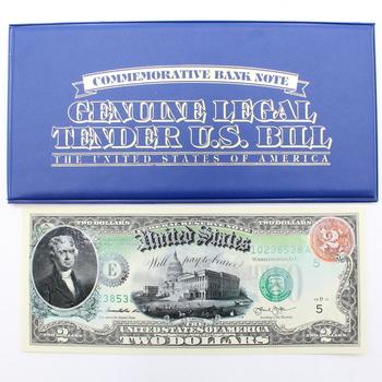 Jefferson Rainbow Commemorative $2 Bank Note Enhanced Imaging