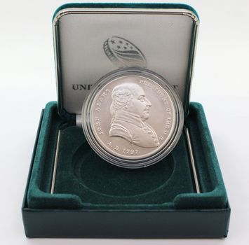 John Adams 1 oz. Silver Presidential Medal w/ Certificate, Case and Box