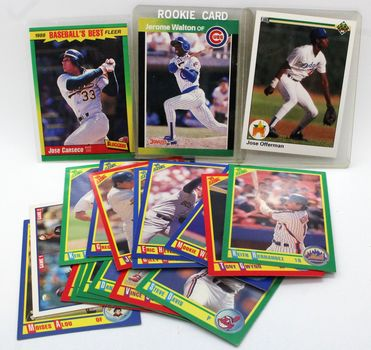 Lot of 19 Baseball Cards - '88 Jose Canseco, '90 Jose Offerman, Jerome Walton Rookie Card & More!