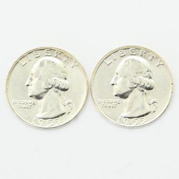 Lot of 2 1955-D Washington 90% Silver Quarters - Brilliant Uncirculated