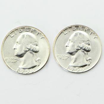 Lot of 2 1956 Washington 90% Silver Quarters - Gem Uncirculated
