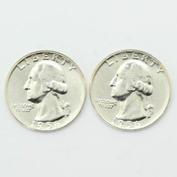 Lot of 2 1956-D Washington 90% Silver Quarters - Gem Uncirculated