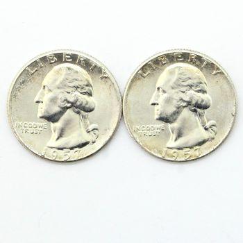 Lot of 2 1957 Washington 90% Silver Quarters - Brilliant Uncirculated