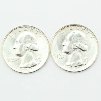 Lot of 2 1957 Washington 90% Silver Quarters - Gem Uncirculated