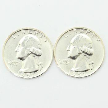 Lot of 2 1957-D Washington 90% Silver Quarters - Gem Uncirculated
