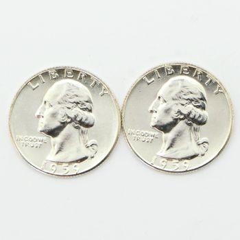 Lot of 2 1959 Washington 90% Silver Quarters - Gem Uncirculated