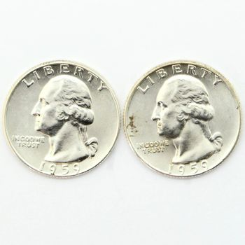 Lot of 2 1959-D Washington 90% Silver Quarters - Brilliant Uncirculated
