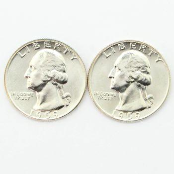 Lot of 2 1959-D Washington 90% Silver Quarters - Gem Uncirculated