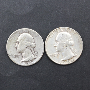 Lot of 2 90% Silver Washington Quarters Varying Years & Condition