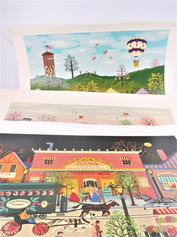 Lot of 3 Unframed Art Prints Folk Art Style Signed & Numbered by Artist Wooster Scott Various Sizes