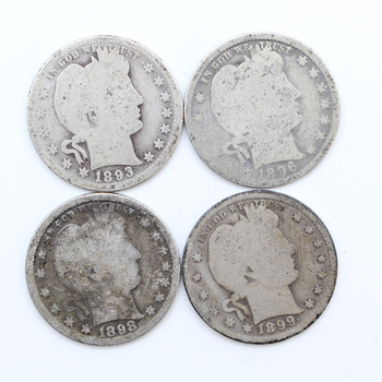 Lot of 4 1890's 90% Silver Barber Quarters Varying Years, Mint Marks & Conditions