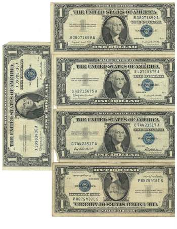 Lot of 5 $1 Silver Certificate Circulated (Assorted 1957, 57A & 57B)