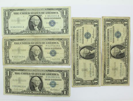 Lot of 5 $1 Silver Certificates (Mix of 1957, 57A & 57B)