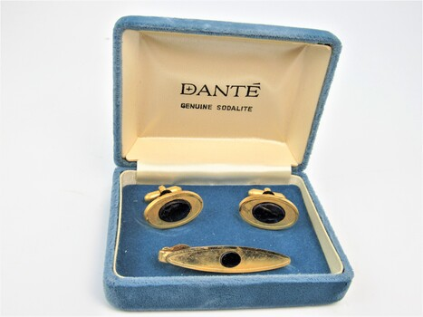 Men's Vintage Dante Gold-Tone & Sodilate Cuff Links and Tie Clasp Set