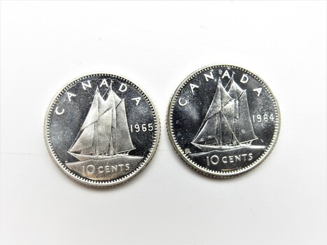 PAIR of 80% Silver 10 Cents Canadian Boat Coin Proof (Random Dates, Mostly 1964/1965)