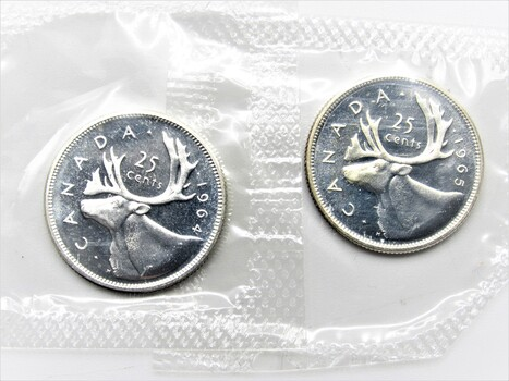 PAIR of 80% Silver 25 Cents Canadian Elk Coin Proof (Random Dates, Mostly 1964/1965)