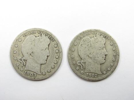 PAIR of 90% Silver 1903-P & 1912-P Barber Quarter (283)